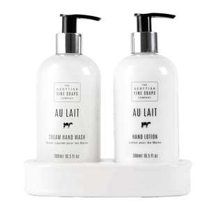Scottish Fine Soaps Au Lait Hand Care Set (Hand Wash, Lotion & Blank Ceramic Bottle Stand)