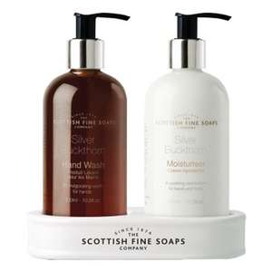 Scottish Fine Soaps Silver Buckthorn Hand Care Set (Hand Wash, Lotion & Ceramic Bottle Stand)