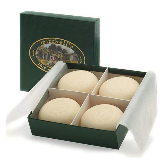 Mitchell's Wool Fat Lanolin Soap Bar Gift Set with Four Round Soap Bars in a Green Gift Box