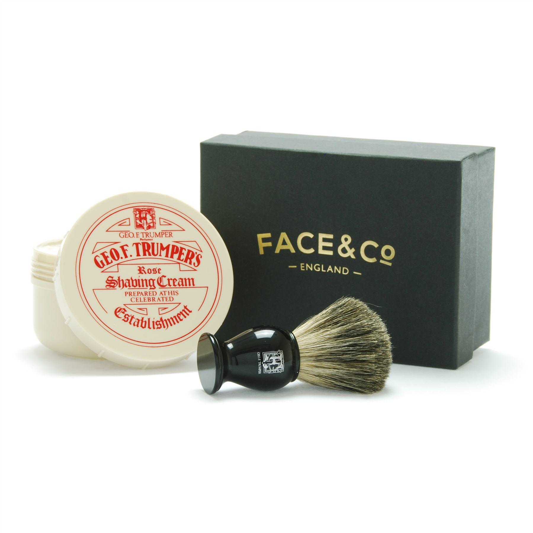 Geo F Trumper Black, Pure Badger Shaving Brush & Rose Shave Cream Gift Set