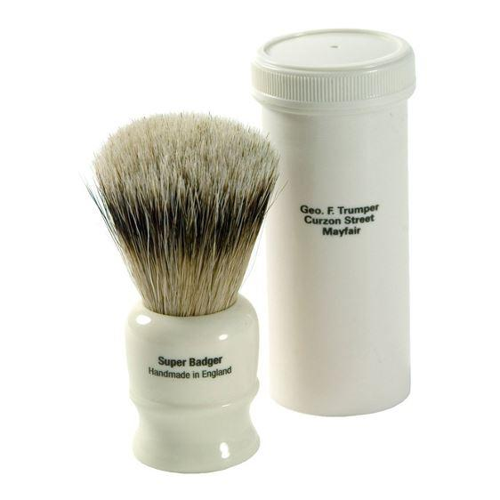 Geo F Trumper Super Badger Travel Shaving Brush with Simulated Ivory Case