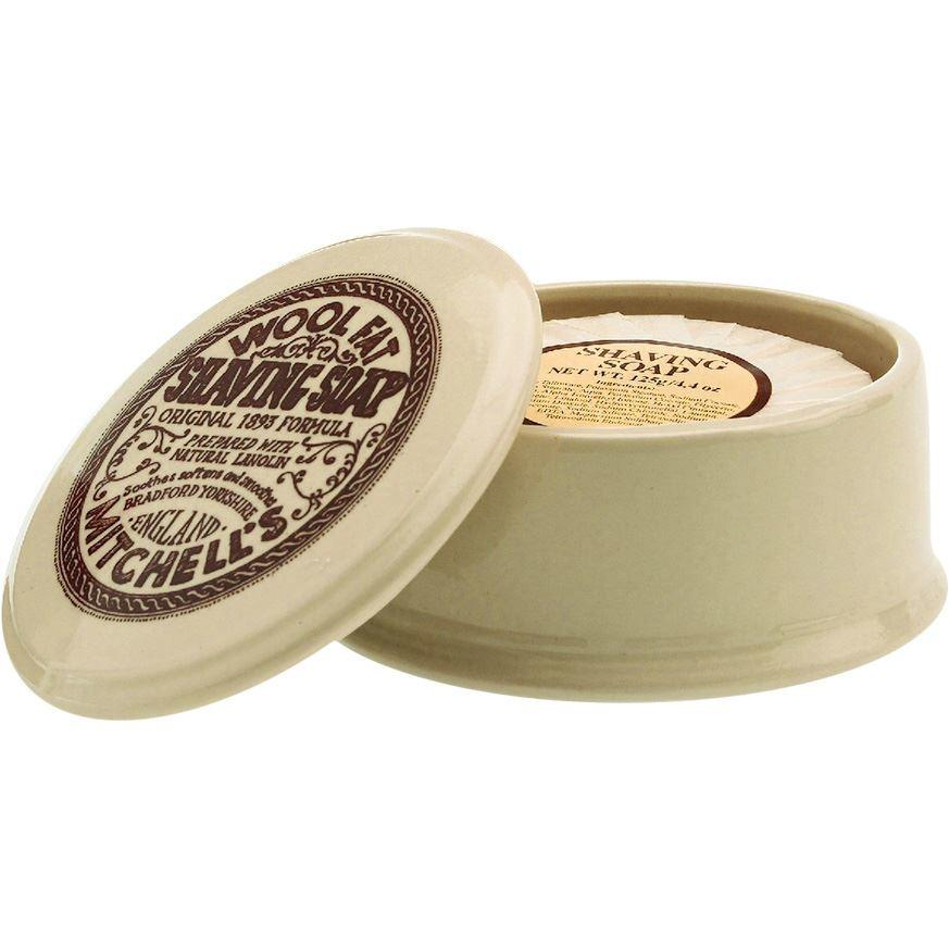 Mitchell's Wool Fat Ceramic Shaving Bowl and Wool Fat Lanolin Shaving Soap