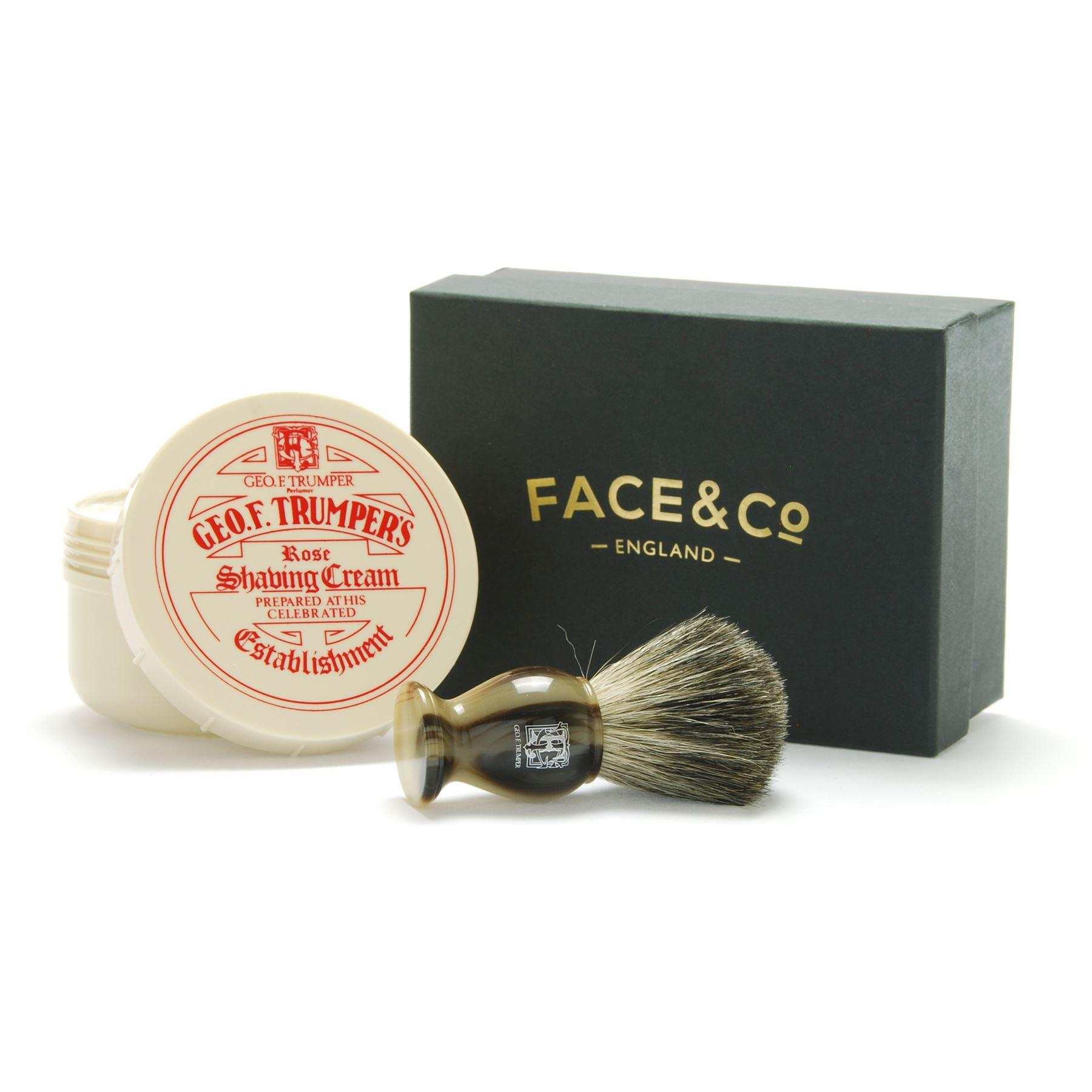 Geo F Trumper Horn, Pure Badger Shaving Brush & Rose Shave Cream Gift Set