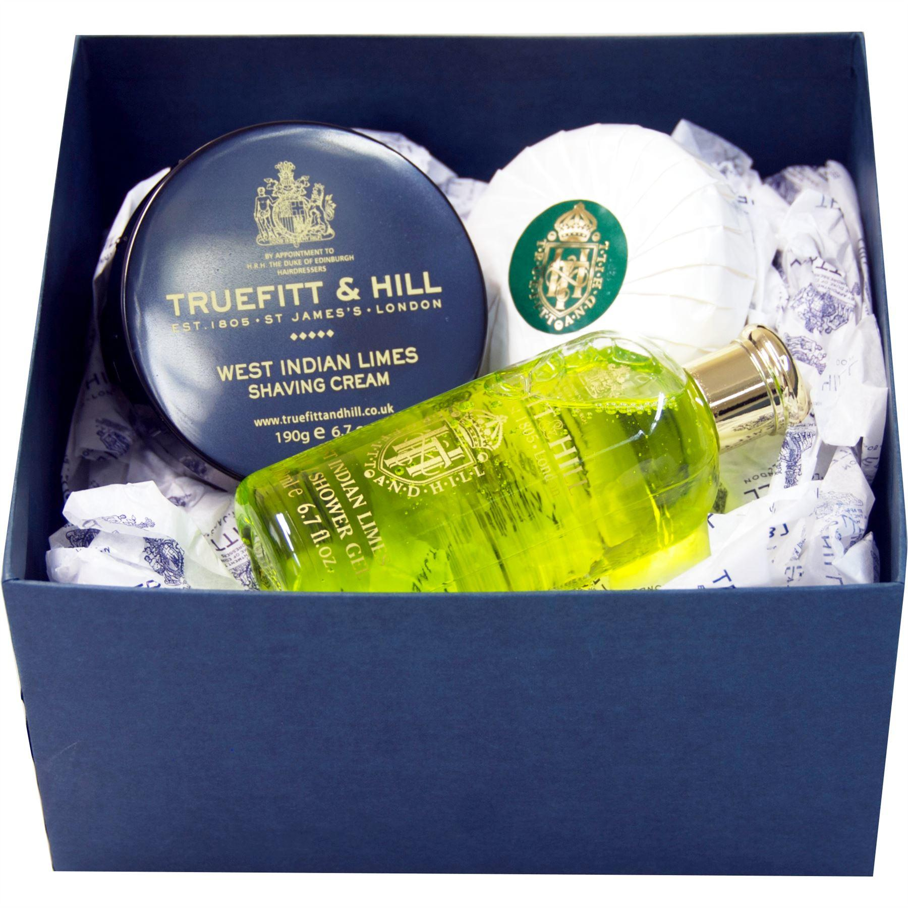 Truefitt & Hill West Indian Limes Bathroom Gift Set (Shaving Cream, Round Soap & Shower Gel)