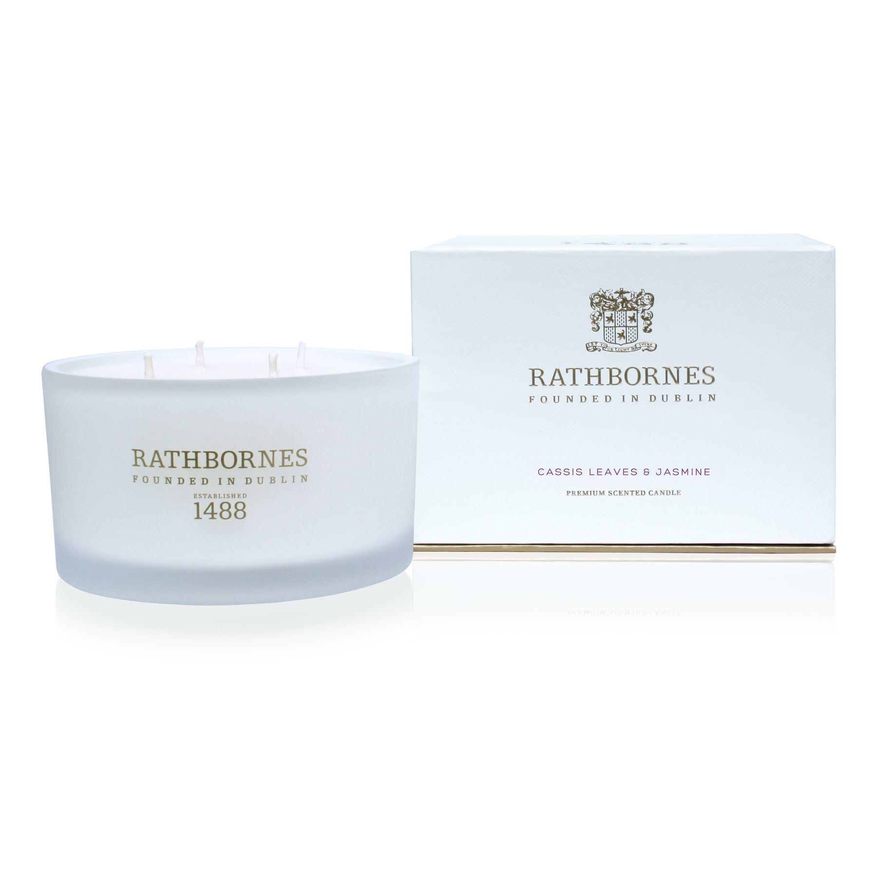 Rathbornes 1488 Cassis Leaves & Jasmine Scented Luxury 4 Wick Candle