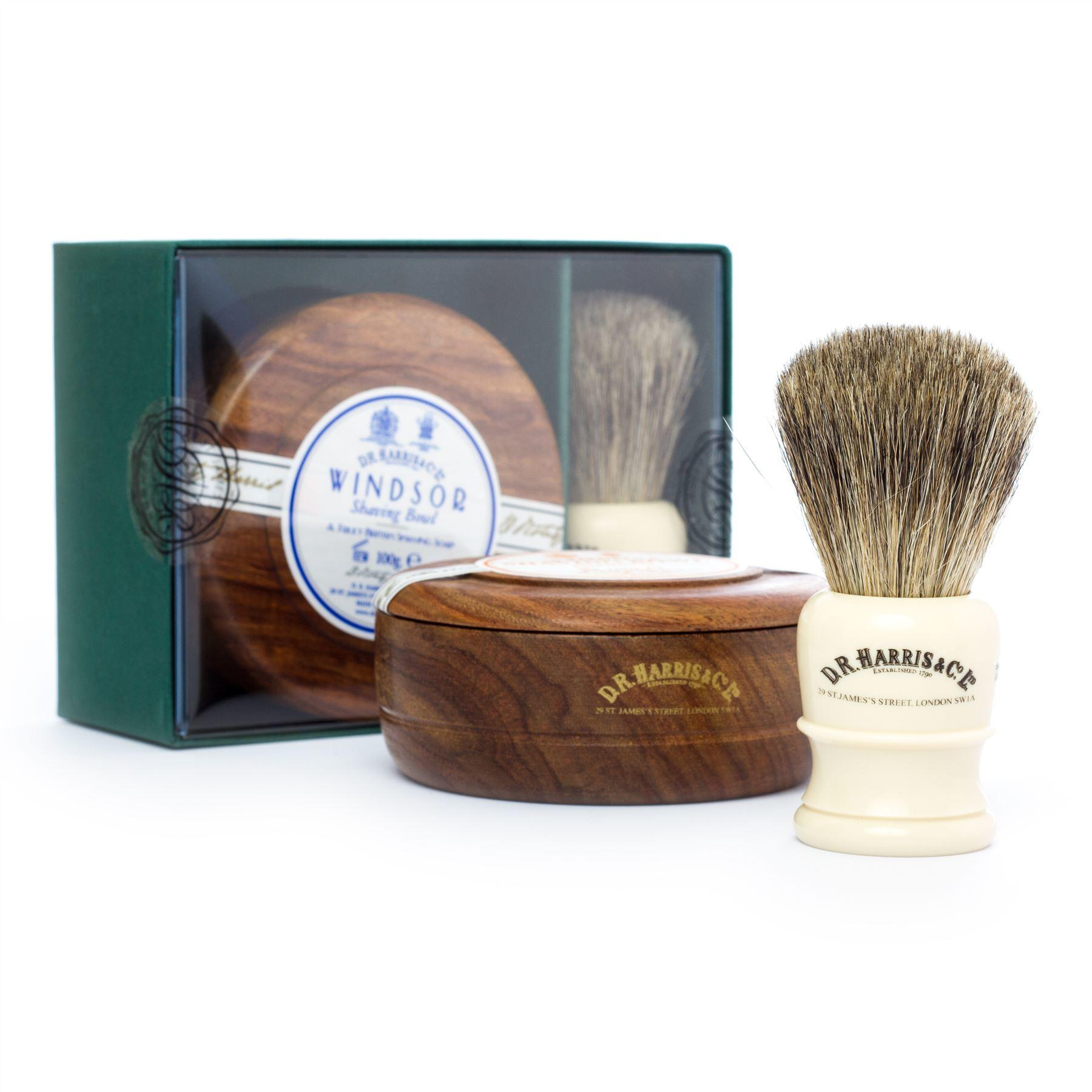 DR Harris & Co Faux Ivory Shaving Brush, Mahogany Bowl & Windsor Shave Soap Gift Set