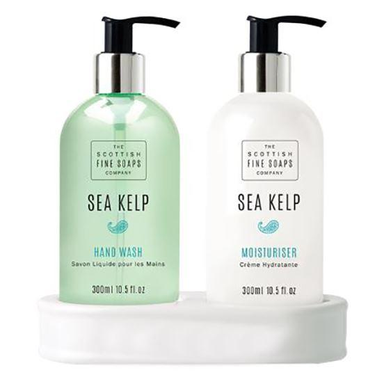 Scottish Fine Soaps Sea Kelp Hand Care Set (Hand Wash, Lotion & Blank Ceramic Bottle Stand)