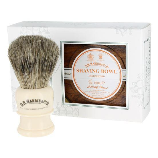 DR Harris & Co Sandalwood Mahogany Shaving Bowl & Brush Gift Set
