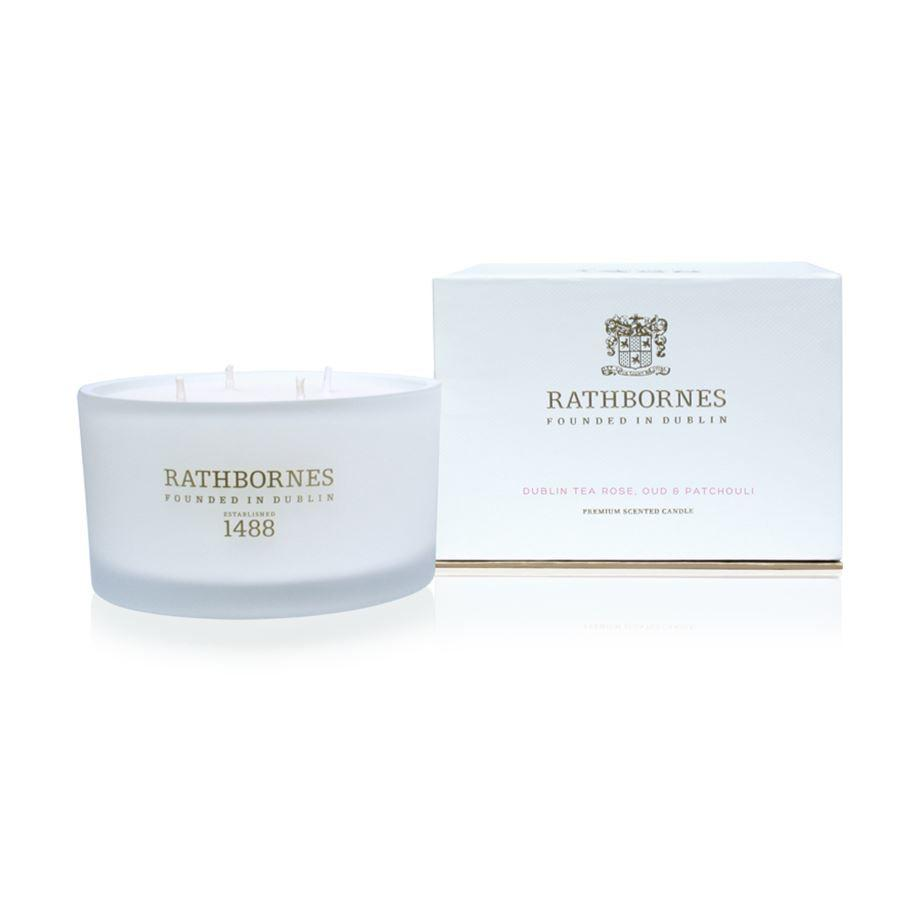 Rathbornes 1488 Dublin Tea Rose, Oud & Patchouli Scented Luxury 4 Wick Candle