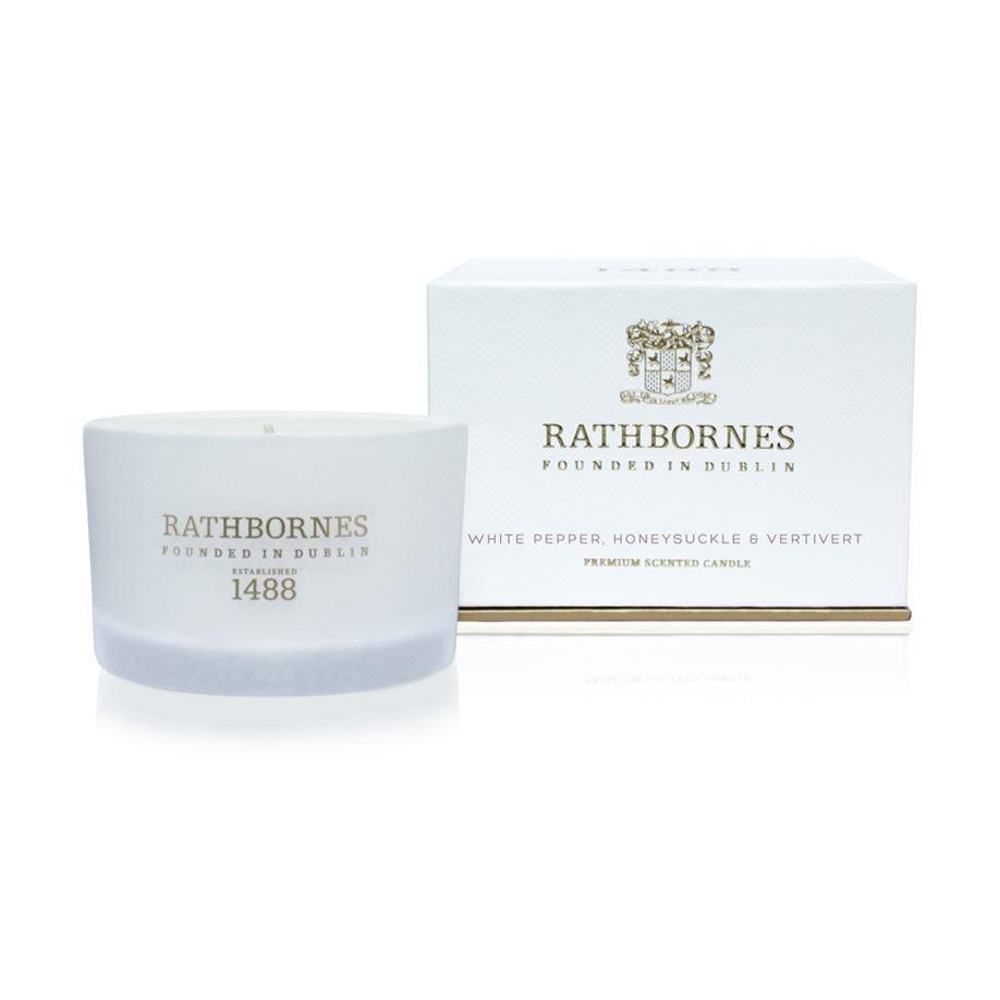 Rathbornes 1488 White Pepper, Honeysuckle & Vertivert Travel Candle