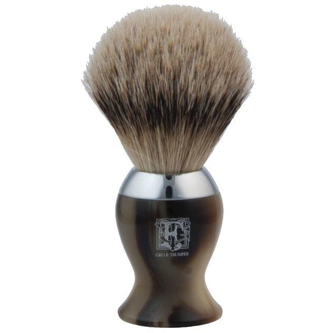 Geo F Trumper Simulated Horn & Chrome IB2 Super Badger Hair Shaving Brush