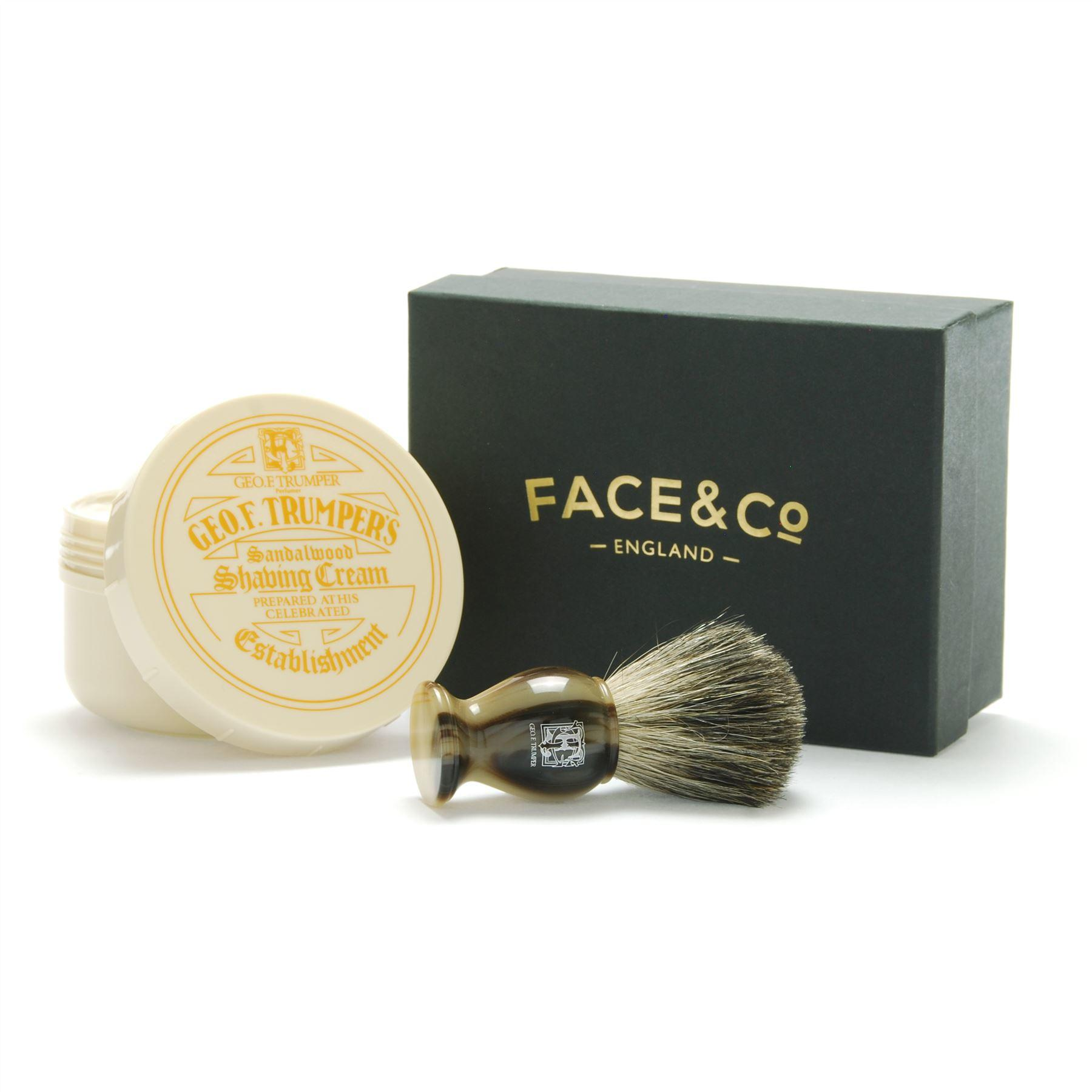 Geo F Trumper Horn, Pure Badger Shaving Brush & Sandalwood Shave Cream Gift Set