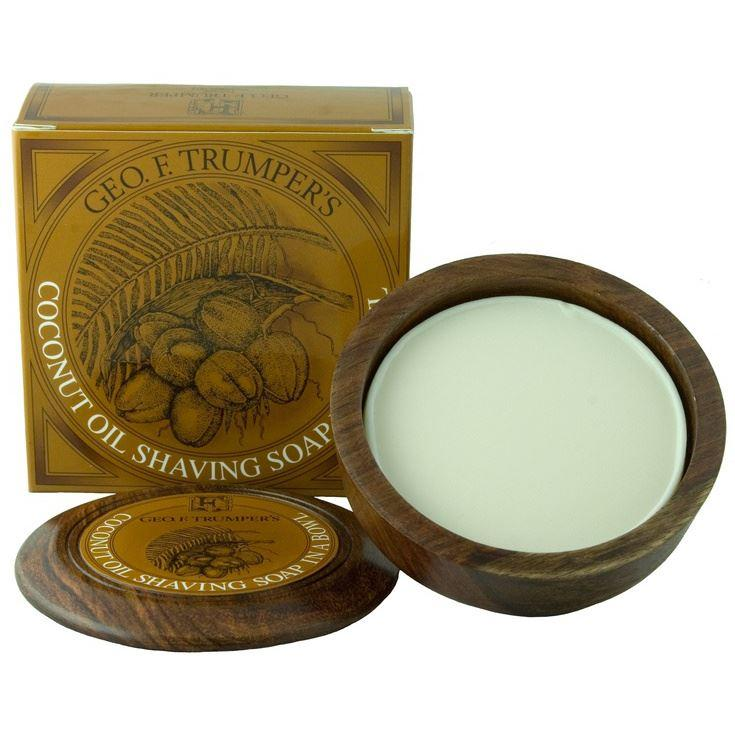 Geo F Trumper Wooden Shaving Bowl & Coconut Shaving Soap