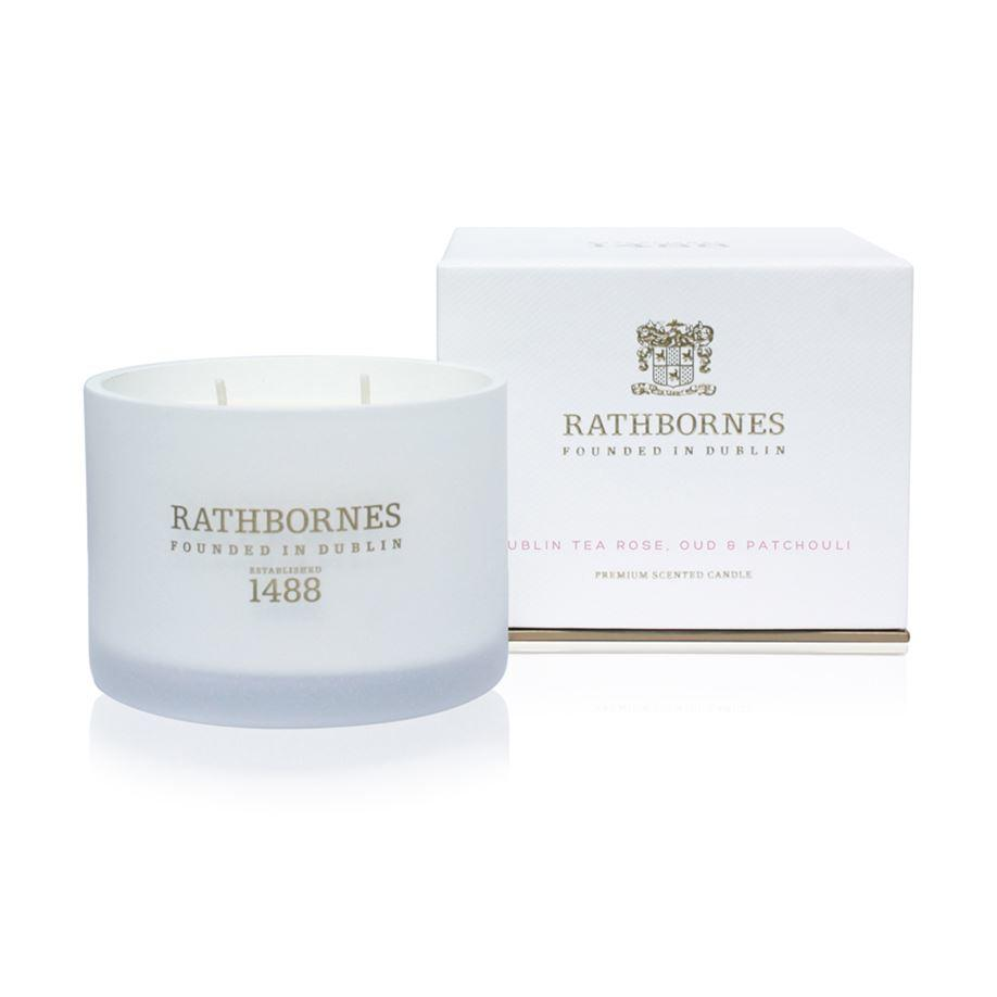 Rathbornes 1488 Dublin Tea Rose, Oud & Patchouli Scented Classic 2 Wick Candle