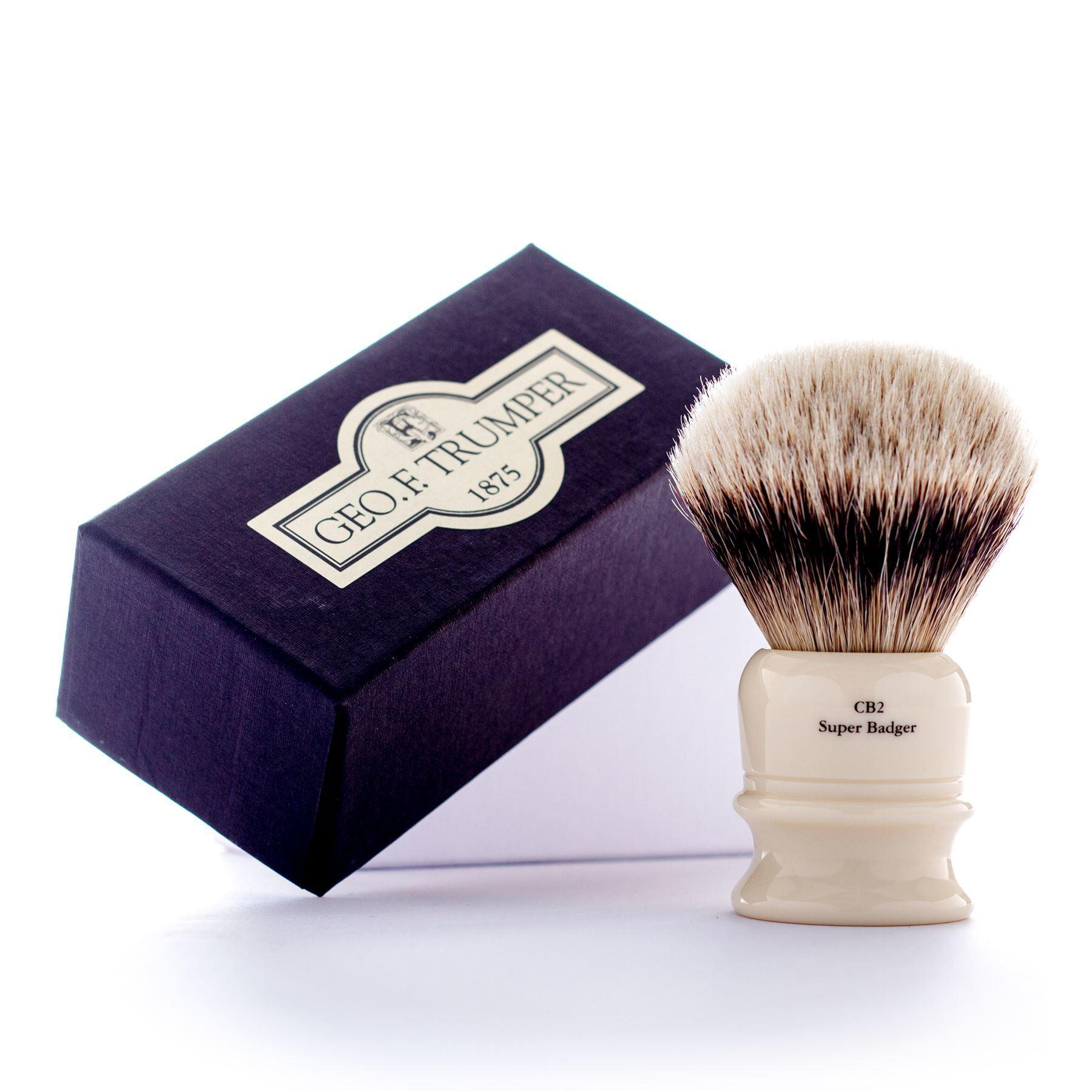 Geo F Trumper Simulated Ivory CB2 Super Badger Hair Shaving Brush