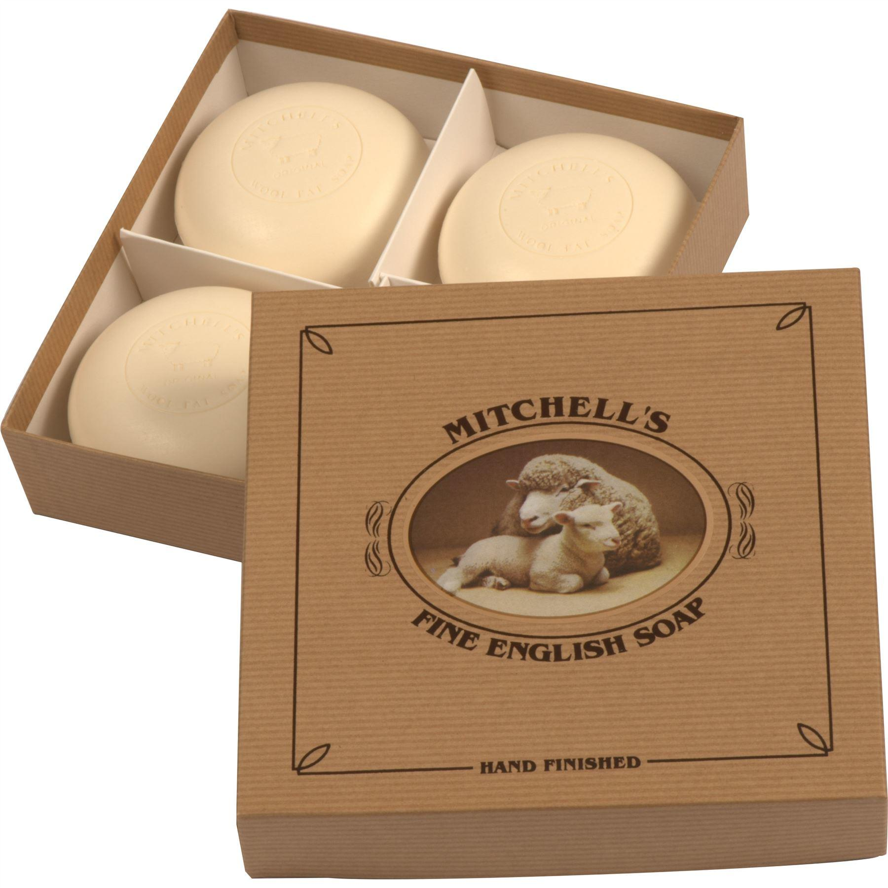 Mitchell's Wool Fat Lanolin Soap Bar Gift Set with Four Round Soap Bars in a Kraft Brown Gift Box