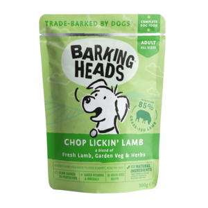 Barking Heads Chop Lickin' Lamb Pouches Grain Free (10 x 300g)