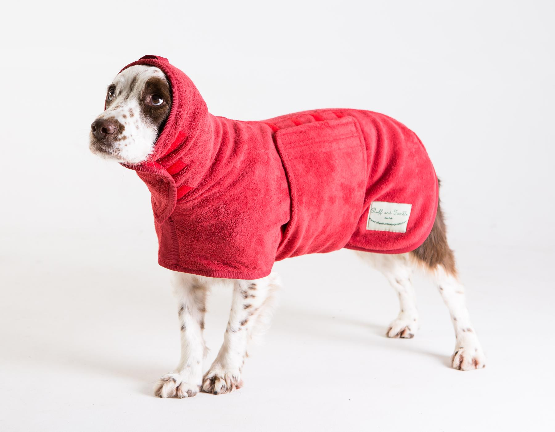 red drying coat with hood