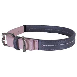 Pink and Grey Leather Dog collar