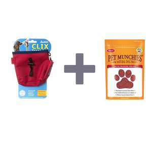 Save when you buy a clix dog Treat Bag with Pet Munchie Training Treats