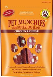 Pet Munchies chicken and Cheese strips
