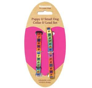 Pawprint Puppy Collar and Lead Set