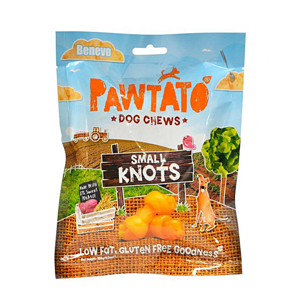 benevo pawtato dog chews - sweet potato and rice knots