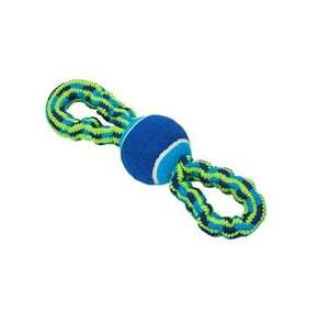 Buster Colour Bungee Blue & Lime Rope Double Handle with Tennis Ball