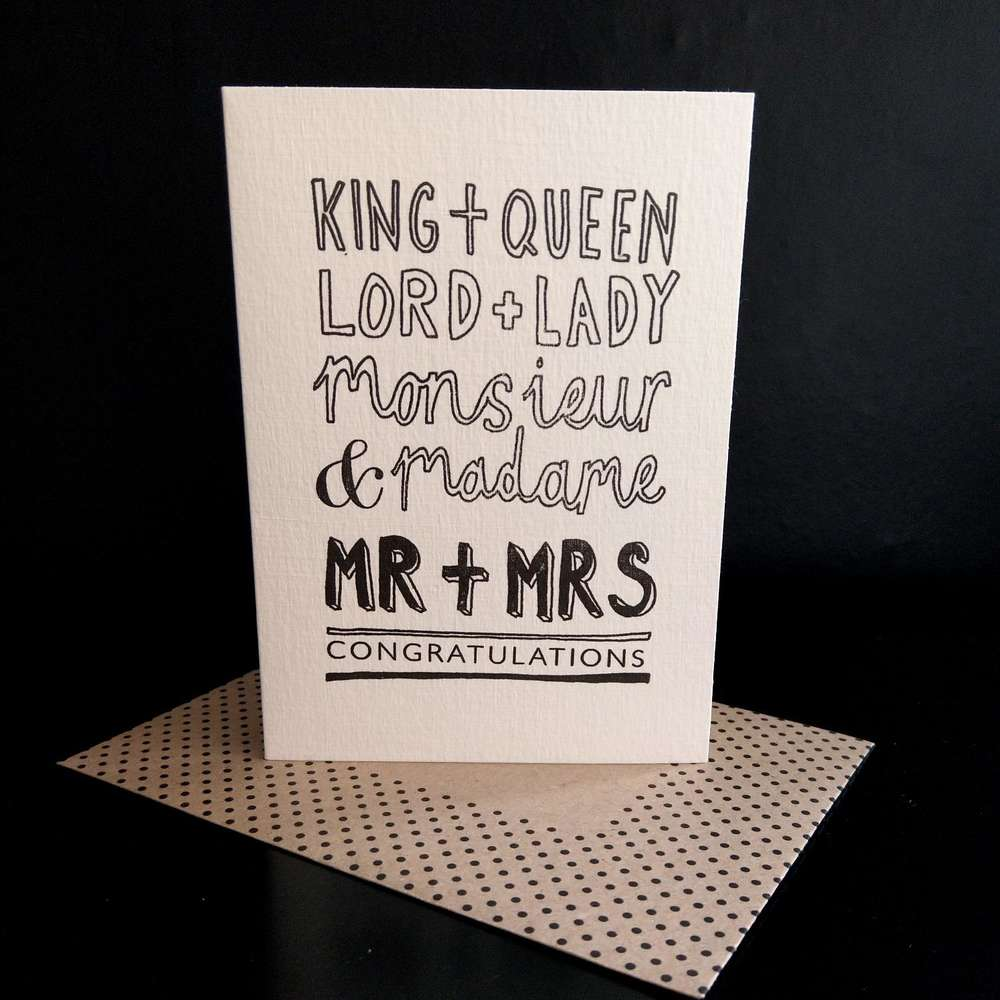 Katie Leamon Mr & Mrs Luxury Wedding Gift Card at Albert & Moo