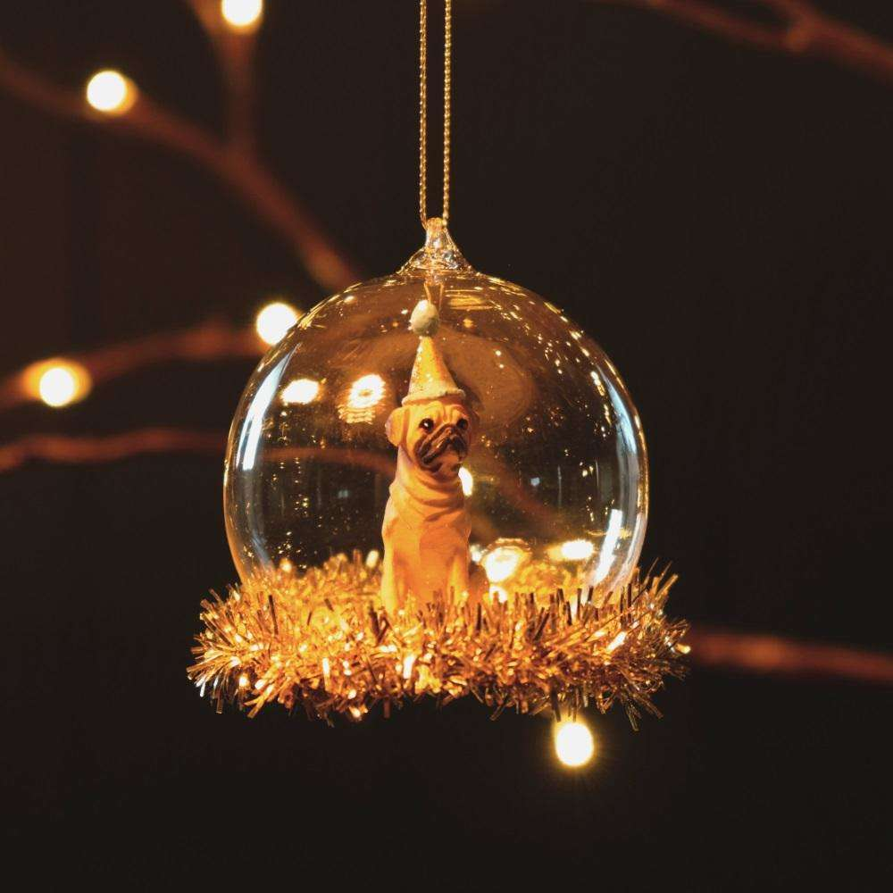 Party Pug Tinsel Bauble at Albert & Moo