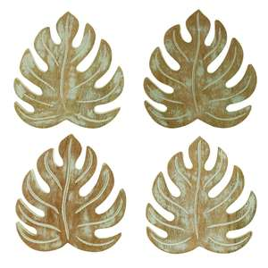 Wooden Monstera Leaf Coasters at Albert & Moo