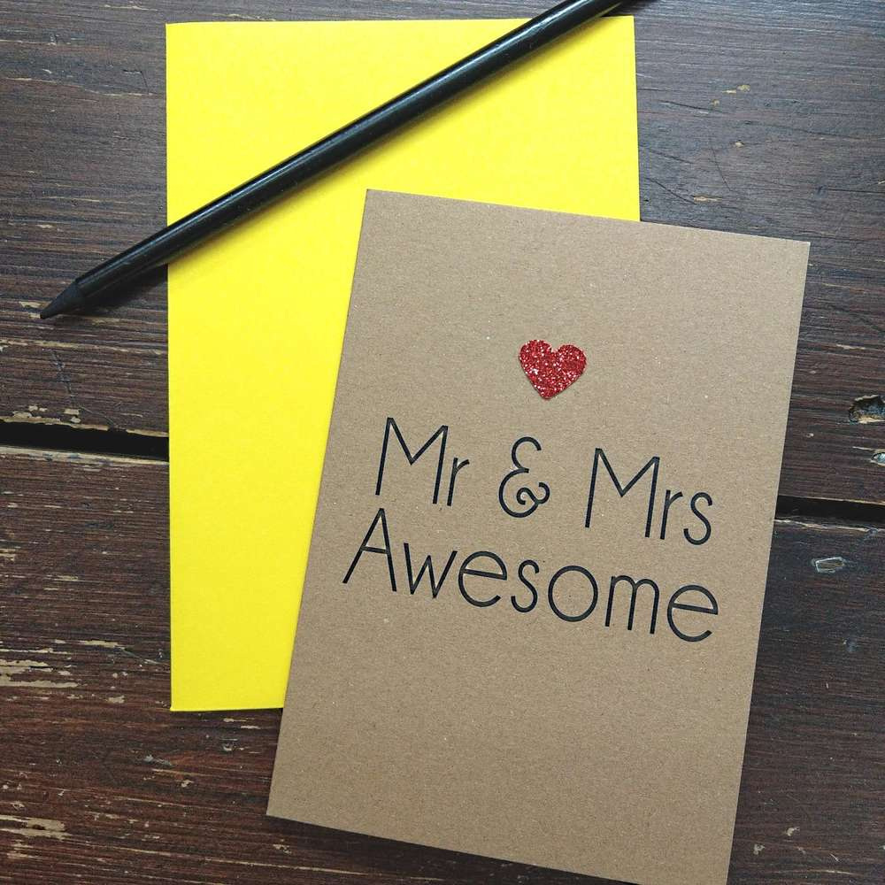 Bettie Confetti Mr & Mrs Awesome Wedding Engagement Greetings Card