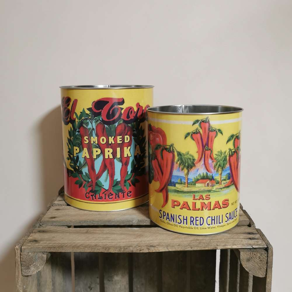 Large Vintage Style Chilli Tins at Albert & Moo