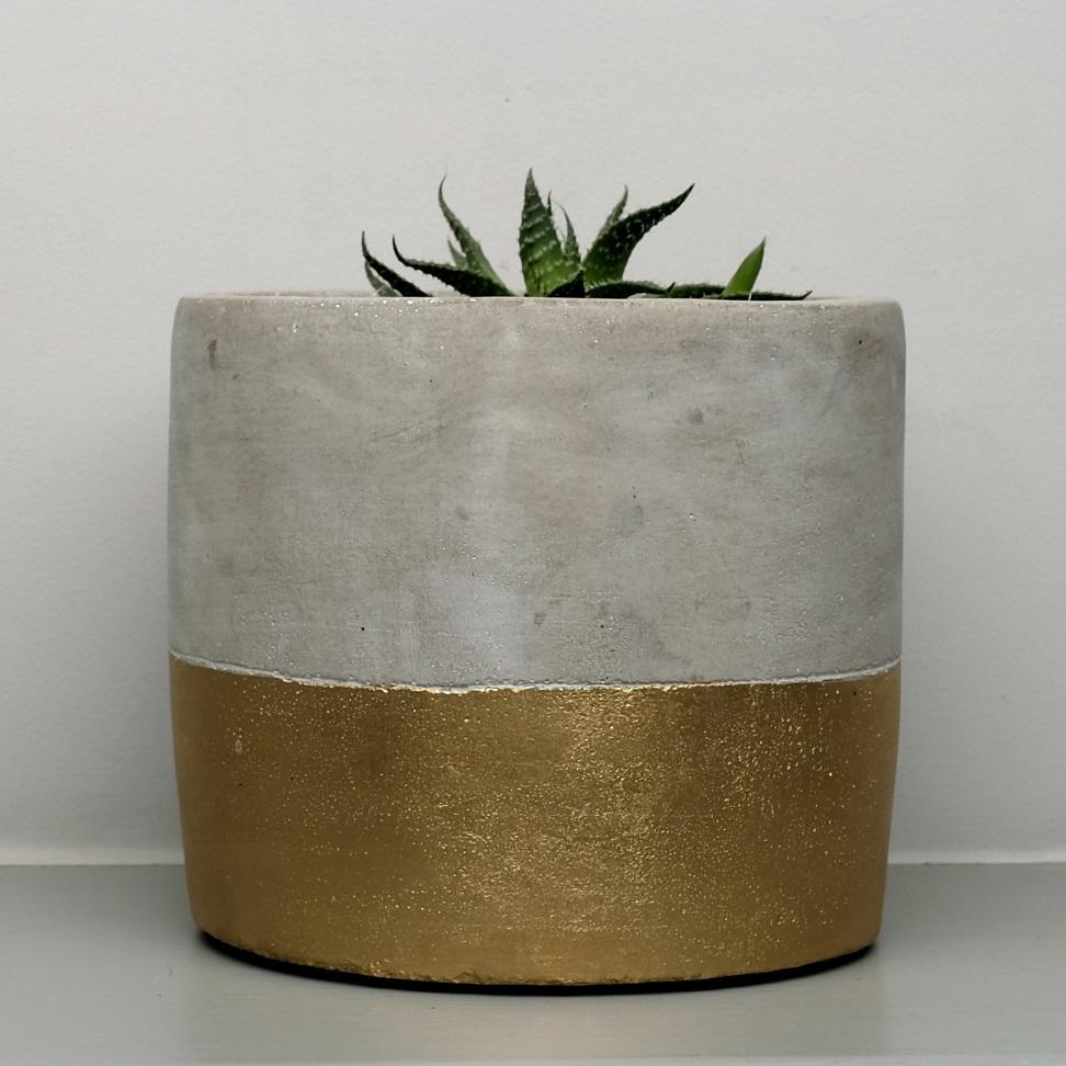 Gold Dipped Concrete Plant Pot at Albert & Moo