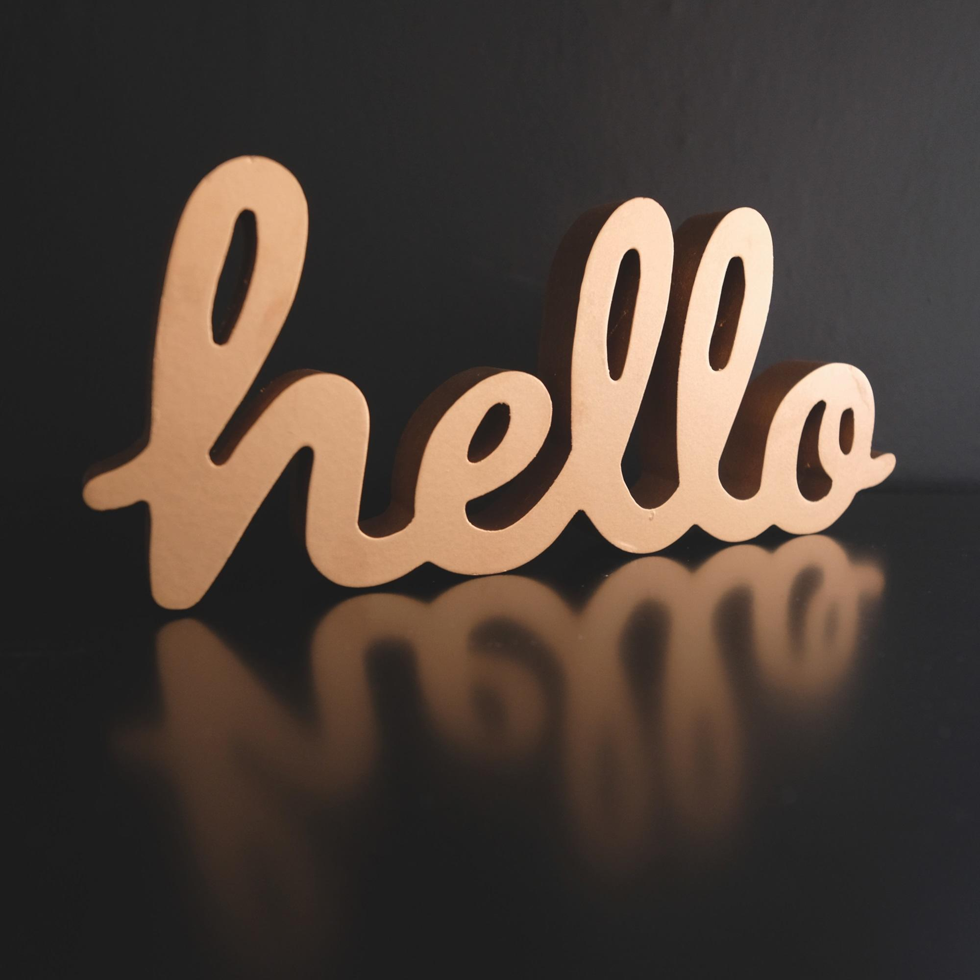 Gold Hello Word Ornament at Albert & Moo