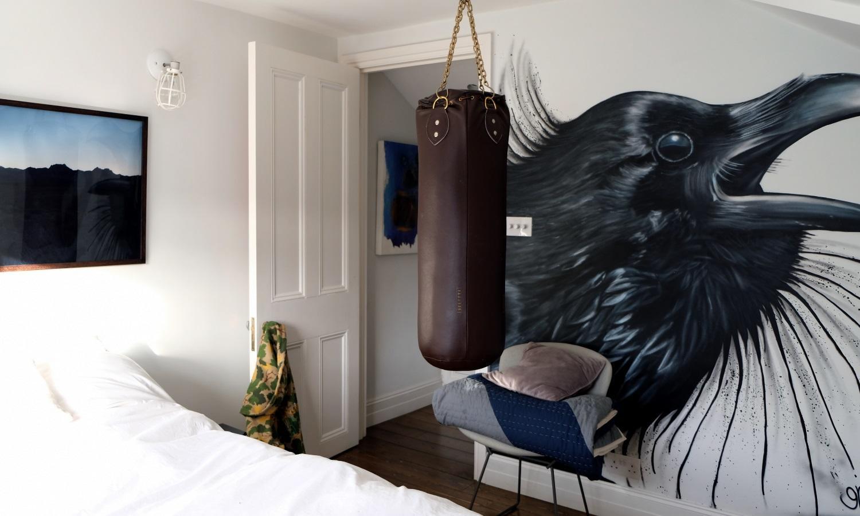 Cool graffiti artwork wall bedroom in De Beauvoir Townhouse for Living Etc.
