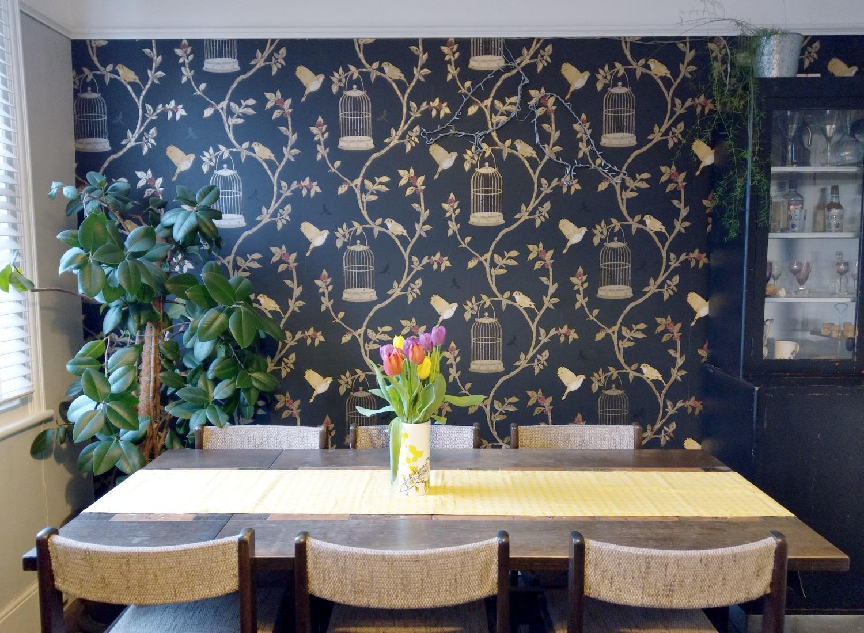 Black & Gold Nina Campbell Birdcage Walks wallpaper