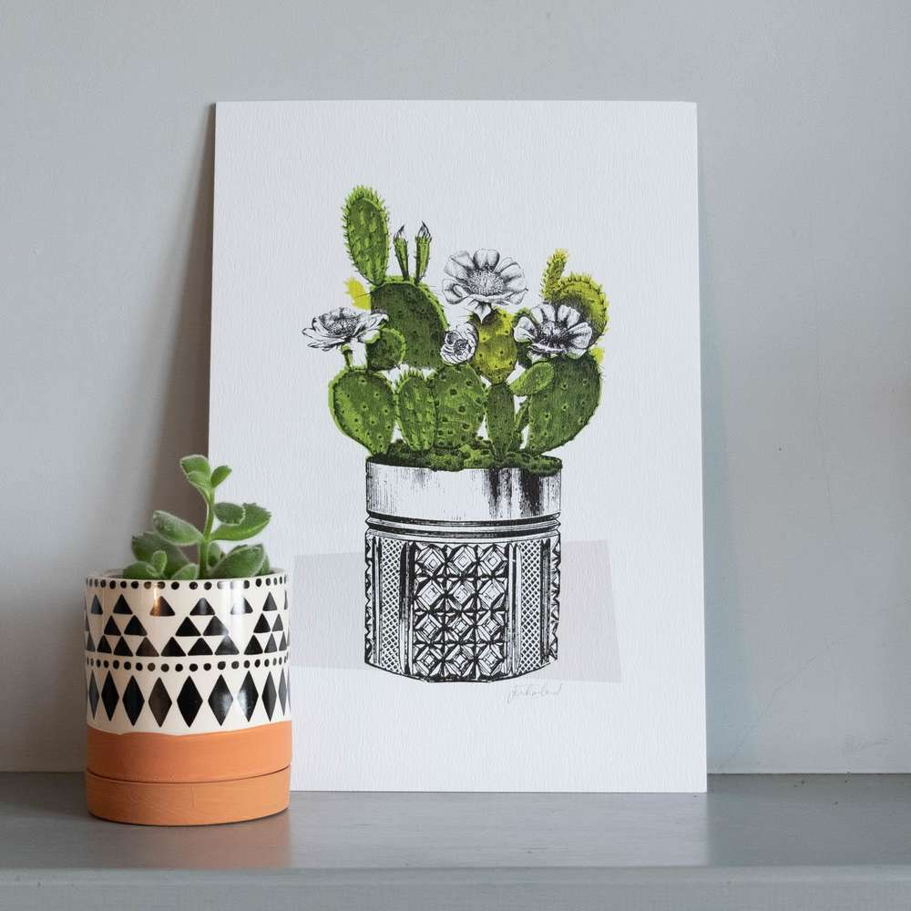 Jen Rowland Green Cactus A4 Art Print at Albert & Moo