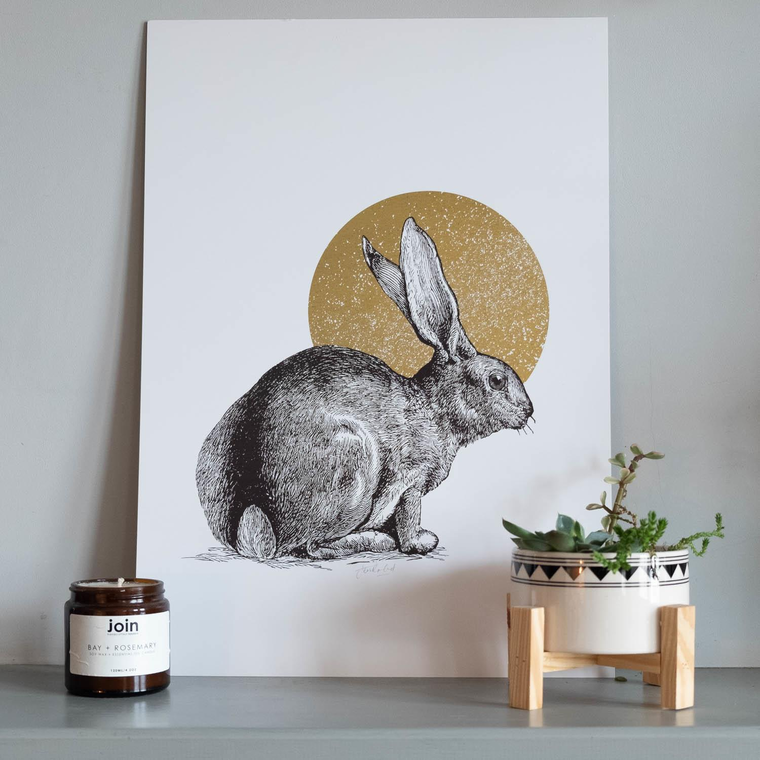 Jen Rowland Rabbit Foiled Gold A3 Art Print at Albert & Moo