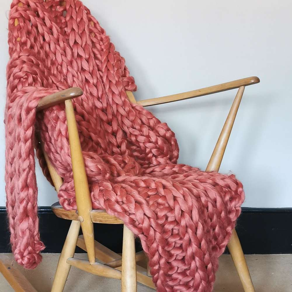 Rust Chunky Knit Throw at Albert & Moo