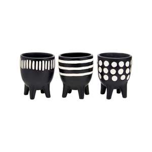 Set of Three Mini Black Leggy Plant Pots at Albert & Moo