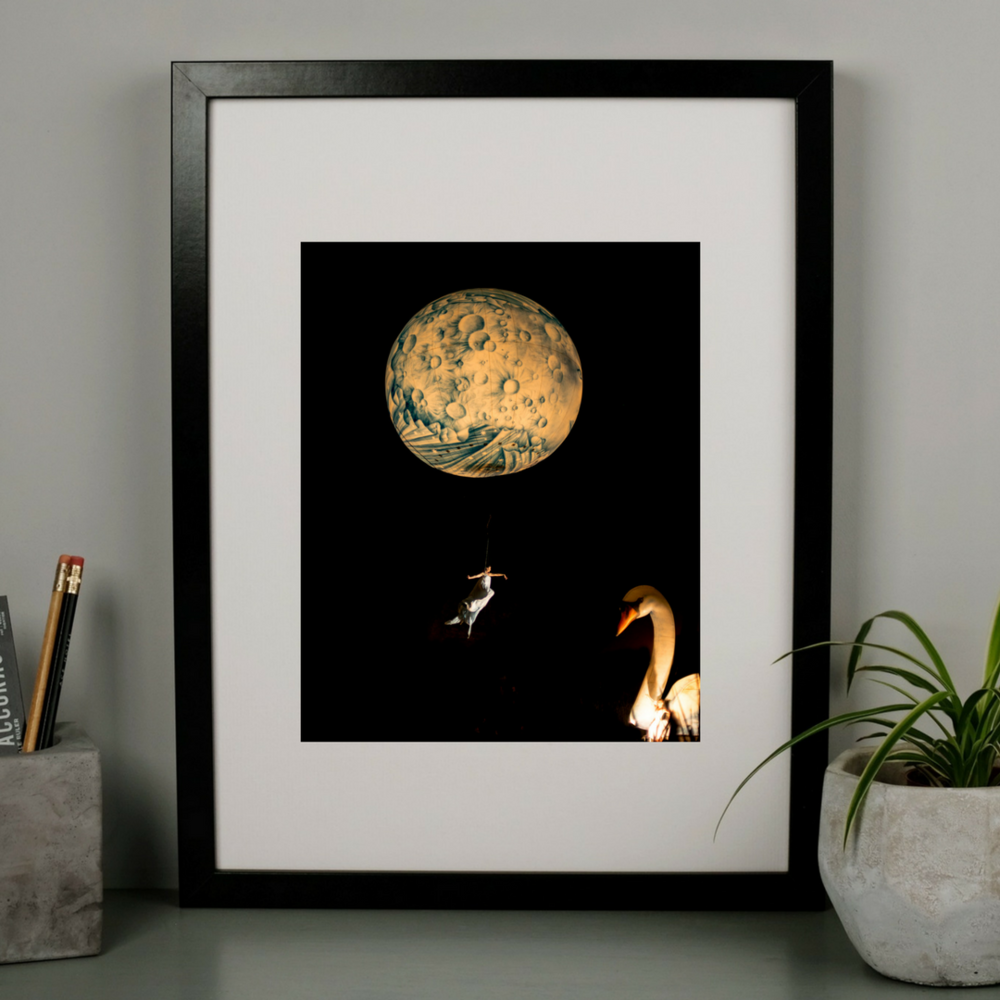 Dreamy Moon Swan Photography Print at Albert & Moo
