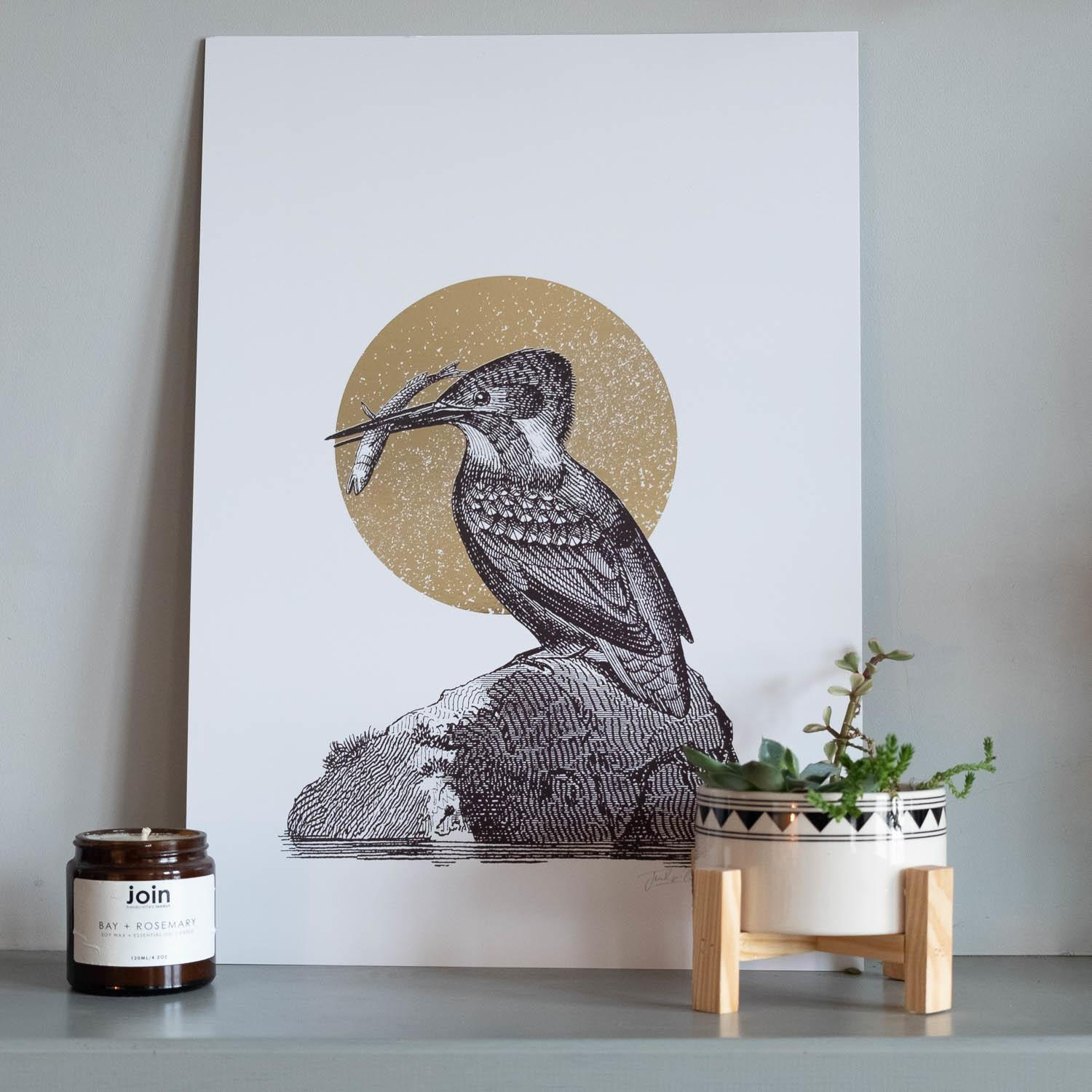 Jen Rowland Kingfisher Foiled Gold A3 Art Print at Albert & Moo
