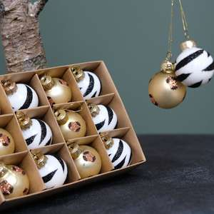 Box of 12 Luxe Animal Print Mini Baubles at Albert & Moo