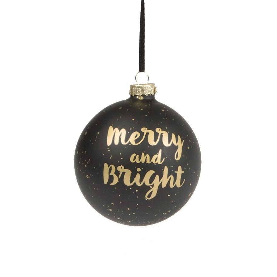 Gold & Black Merry & Bright Bauble at Albert & Moo