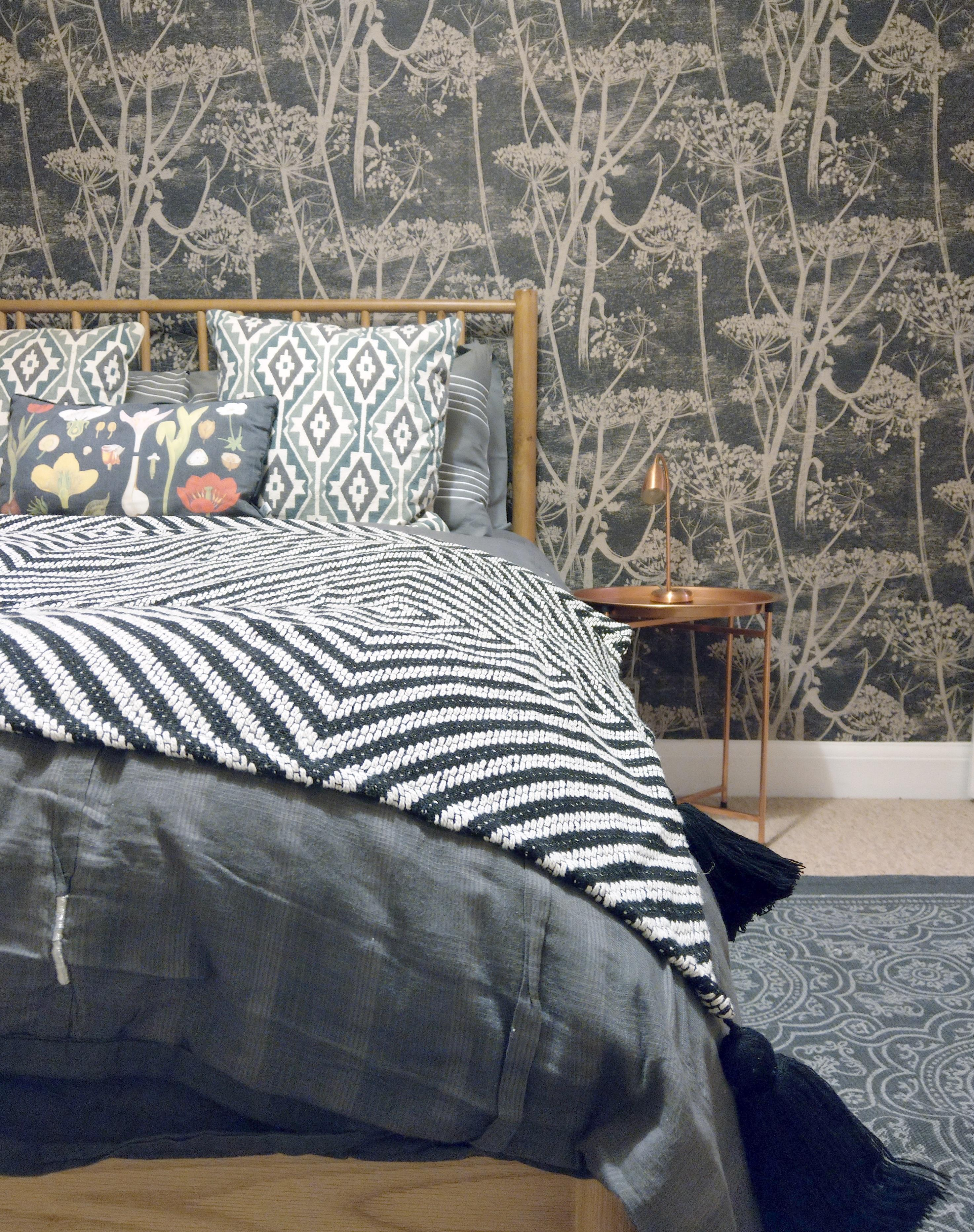 Dark bedroom with Cole & Son Cowparley wallpaper