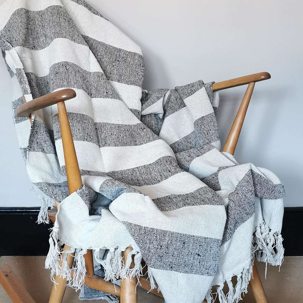 Scandi Boho Striped Throw at Albert & Moo
