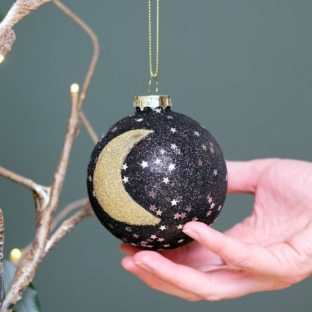 Gold & Black Star & Moon Bauble at Albert & Moo