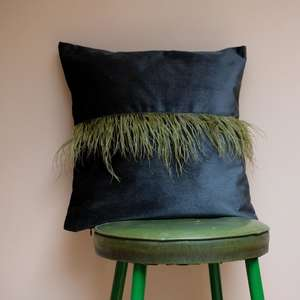Green Feather Cushion at Albert & Moo