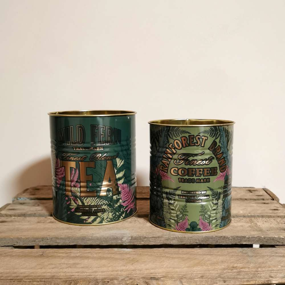 Vintage Style Tea & Coffee Tin Plant Pots Storage Pots at Albert & Moo